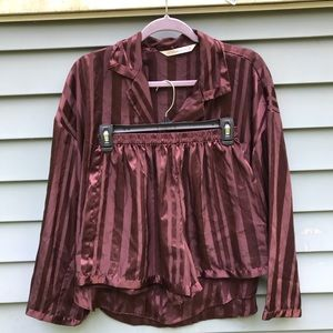 Victoria's Secret Maroon Satin Pajama Set Size M